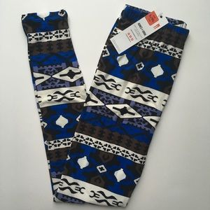 Kids L/XL leggings blue/black print